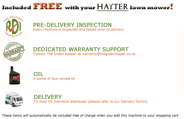 Free PDI. Oil and UK Delivery with Hayter Lawn Mowers from The Green Reaper