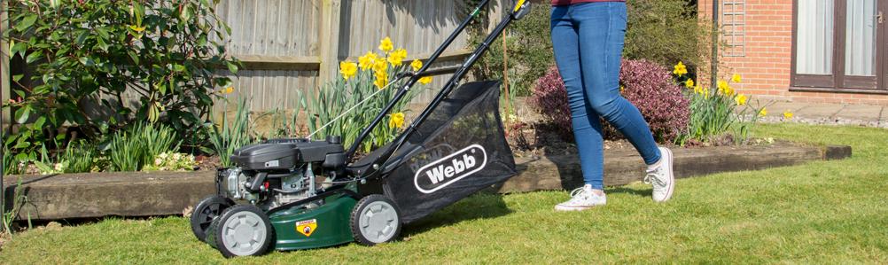 Webb Petrol Four-Wheel Rotary Lawn Mowers