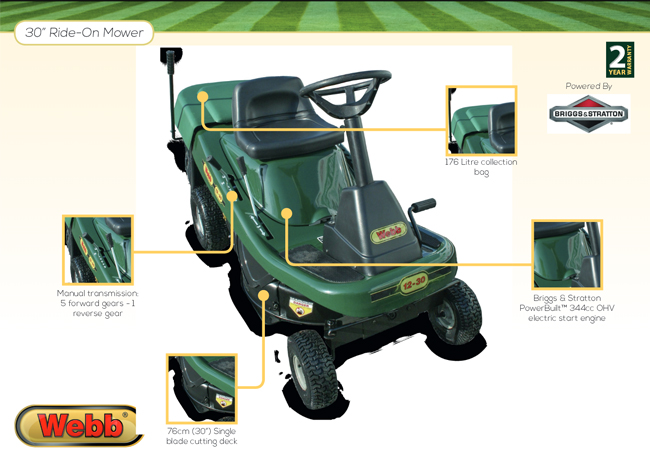 Webb WE12530 ride on mower features
