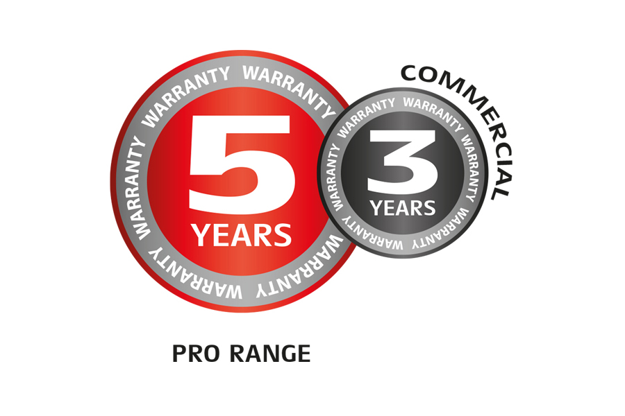 5 year professional, 3 year private warranty
